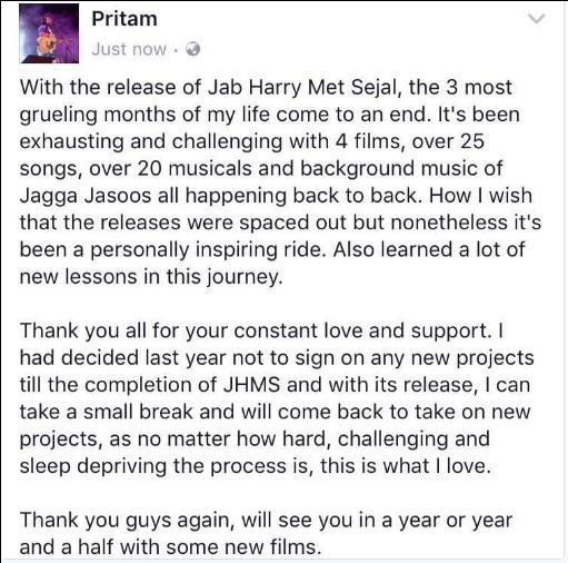 Omg! Pritam Takes a Year And a Half Break From Making Music