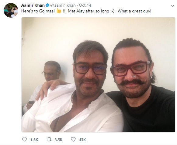 PIC: Aamir Khan and Ajay Devgn Bond Over Their Upcoming Films