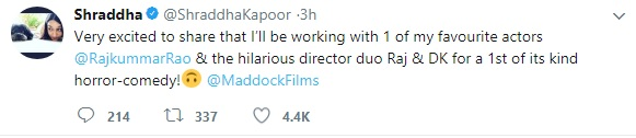 Rajkummar Rao And Shraddha Kapoor to Star Together in a Horror Comedy
