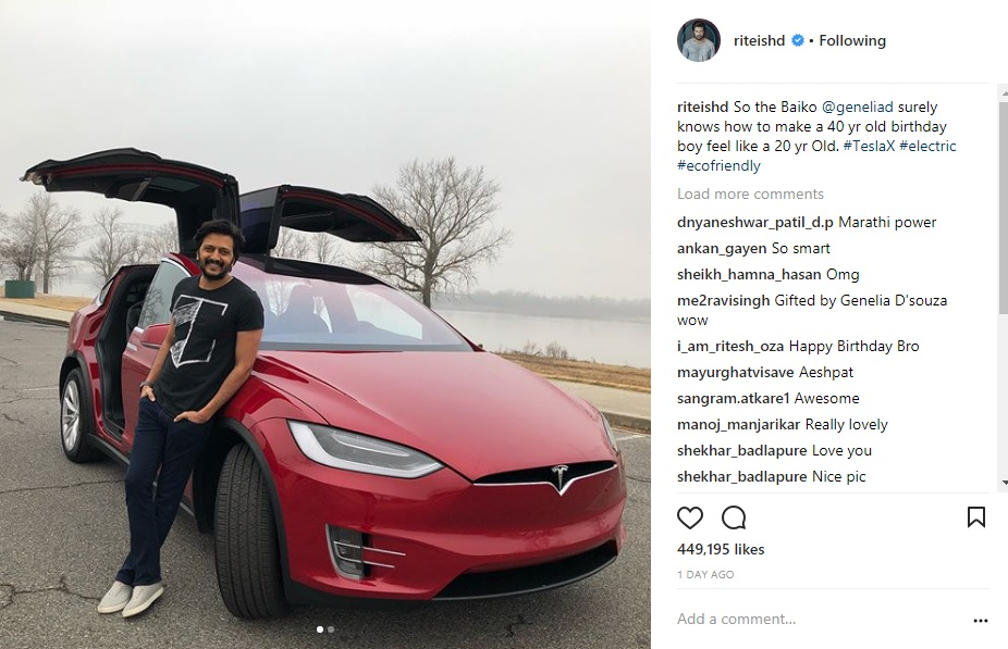 Aww! Genelia D'Souza Gifts Hubby Riteish Deshmukh a Tesla Model X For His Birthday!