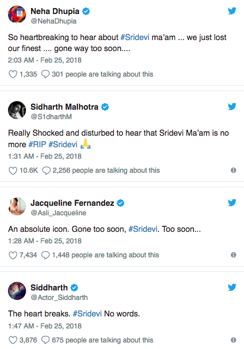 Amitabh Bachchan, Priyanka Chopra and Others Mourn The Death of Sridevi