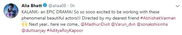 'Kalank' Star Cast Revealed! Madhuri Dixit, Sanjay Dutt, Sonakshi Sinha, Alia Bhatt, Varun Dhawan and Aditya Roy Kapur