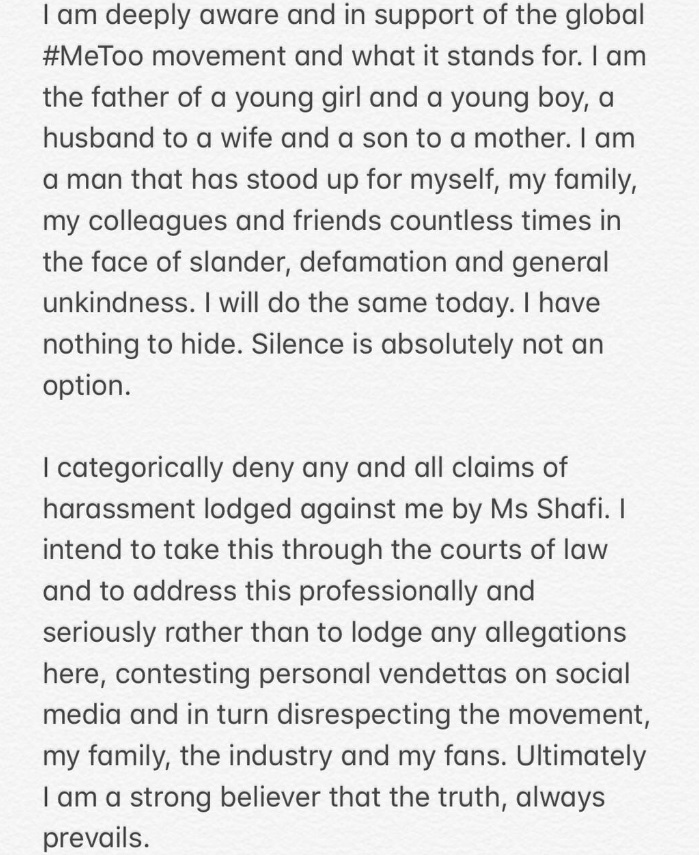 Ali Zafar's Official Statement on Meesha Shafi's Accusations; Read it Here!