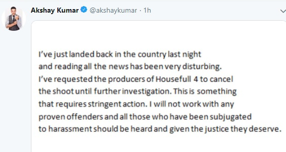 #Metoo: Akshay Kumar Speaks Up. Stops Shoot of 'Housefull 4' After Charges Against Director Sajid Khan