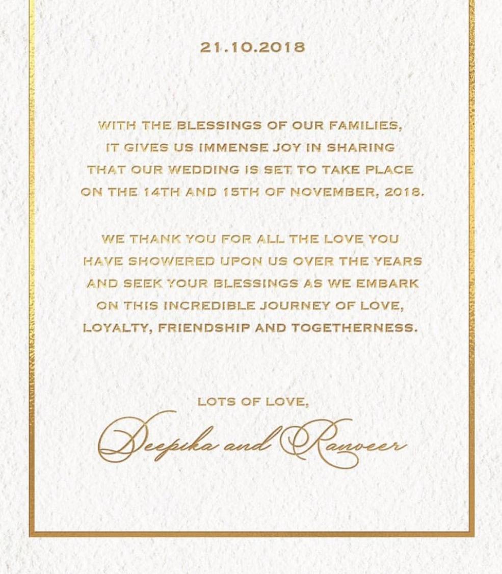 CONFIRMED! Deepika Padukone and Ranveer Singh are Getting Married on November 14 and 15