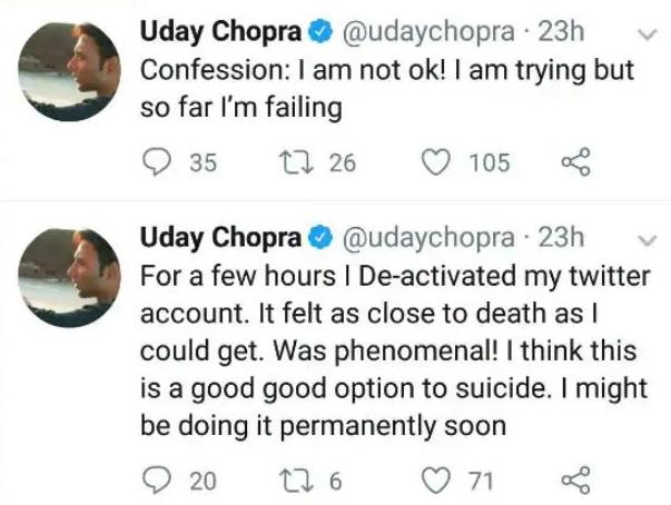 Uday Chopra's Tweet Refers to Depression Again! Fans Question Shah Rukh Khan and Karan Johar About Their Friendship
