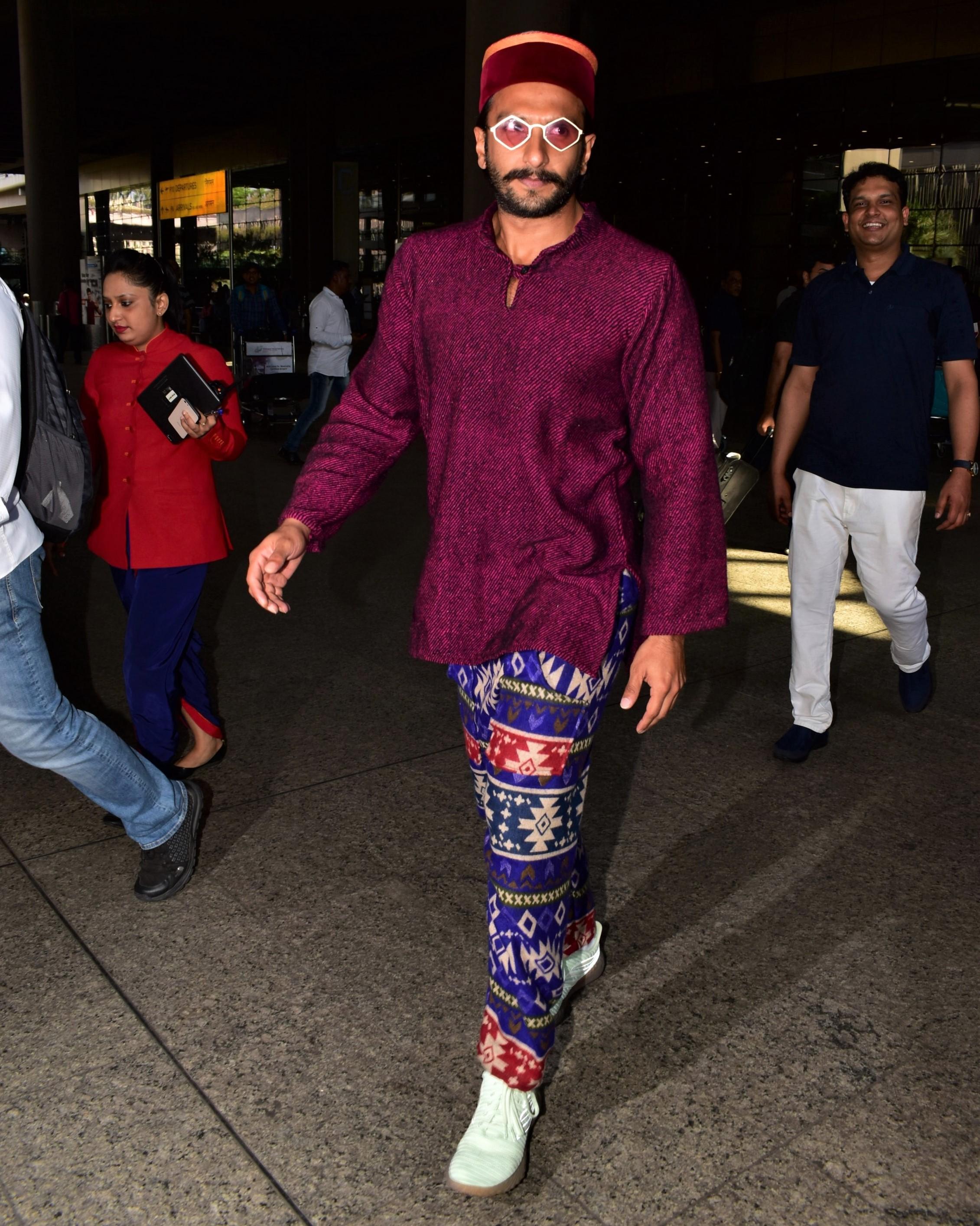 Ranveer Singh Rocks Pajama Chic At The Airport