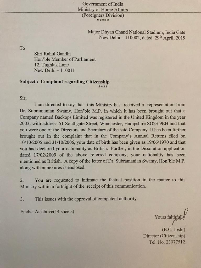 Rahul Gandhi, a British Citizen? Ministry of Home Affair Issues a Notice