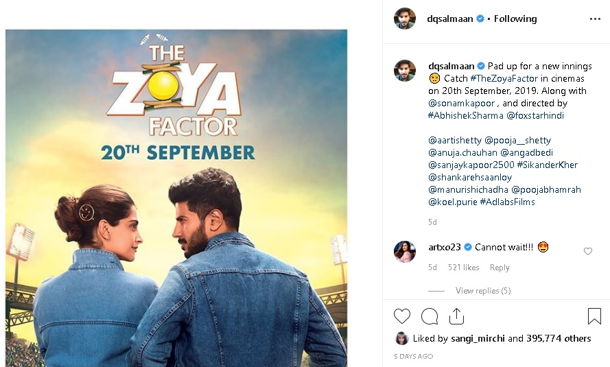 Dulquer Salmaan's Film with Sonam Kapoor will Release On THIS Day