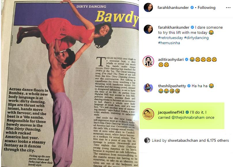 Jacqueline Fernandez's hilarious comment on Farah's pic