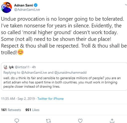 Adnan Sami Khan's Tweet 3