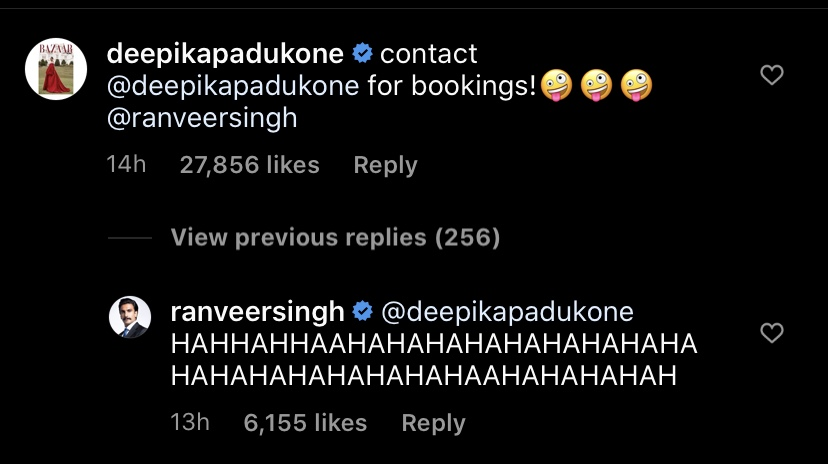 Deepika Padukone's Comment On Ranveer Singh's Posts Has Us In Splits