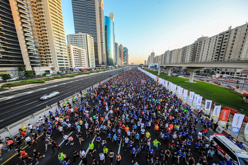 Dubai Crown Prince, His Highness Sheikh Hamdan bin Mohammed bin Rashid Al Maktoum leads first Dubai Run as 70,000 participants follow
