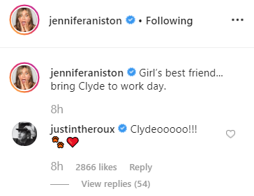 Jennifer Aniston's ex Justin Theroux also commented