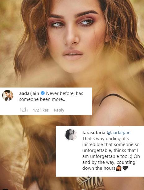 Tara Sutaria and Aadar Jain's exchange on Instagram