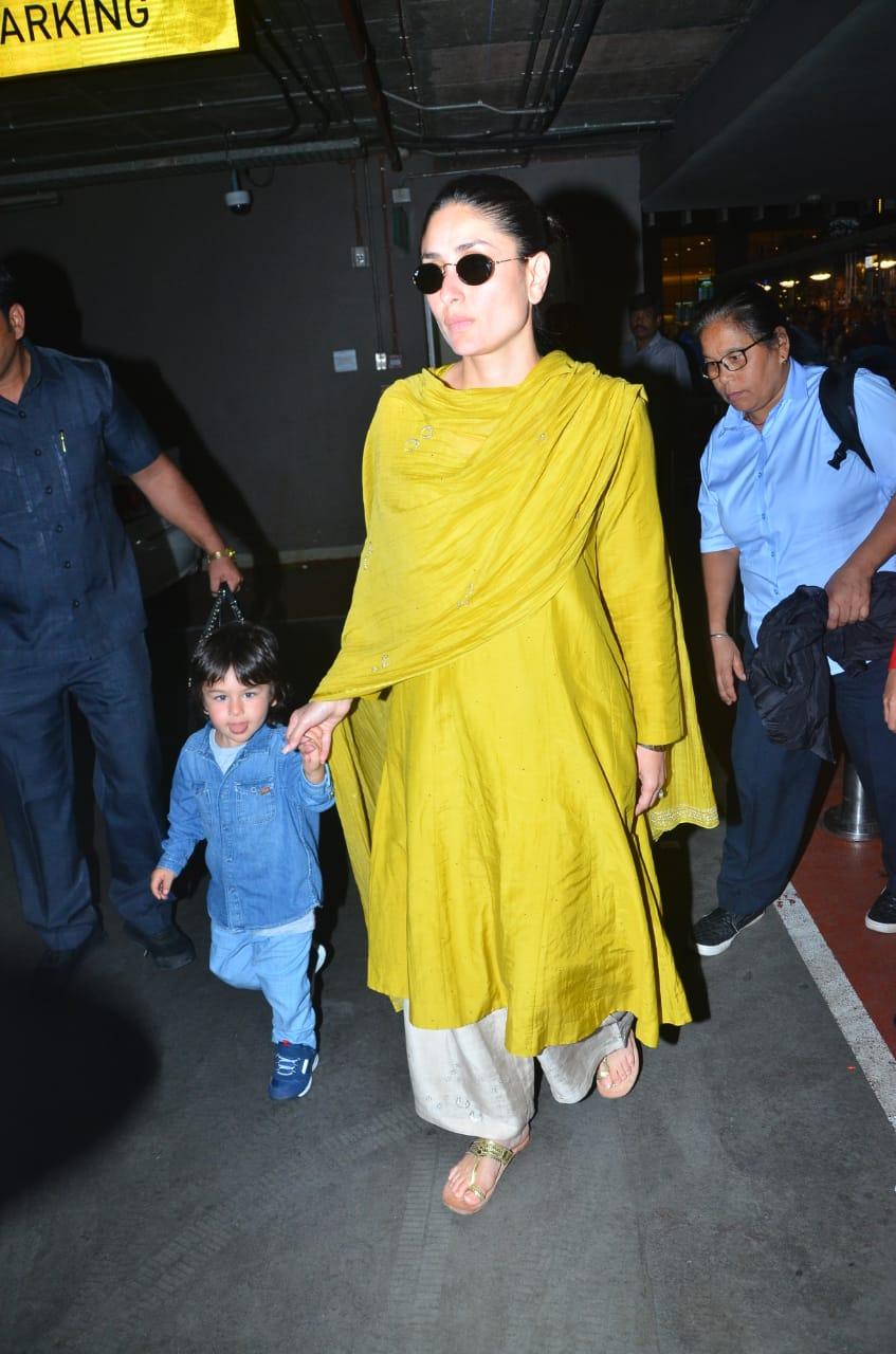 Kareena Kapoor Khan and Taimur Ali Khan at the airport