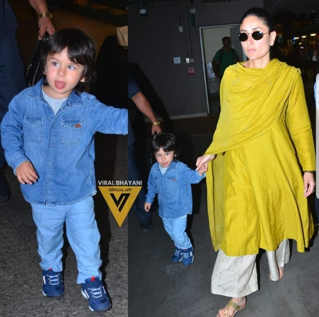 Taimur Ali Khan with Kareena Kapoor at the airport