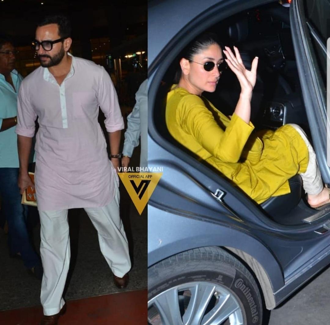 Taimur Ali Khan with Kareena Kapoor and Saif Ali Khan at the airport