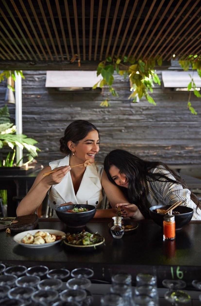 Sonam Kapoor Ahuja and Rhea Kapoor in LA