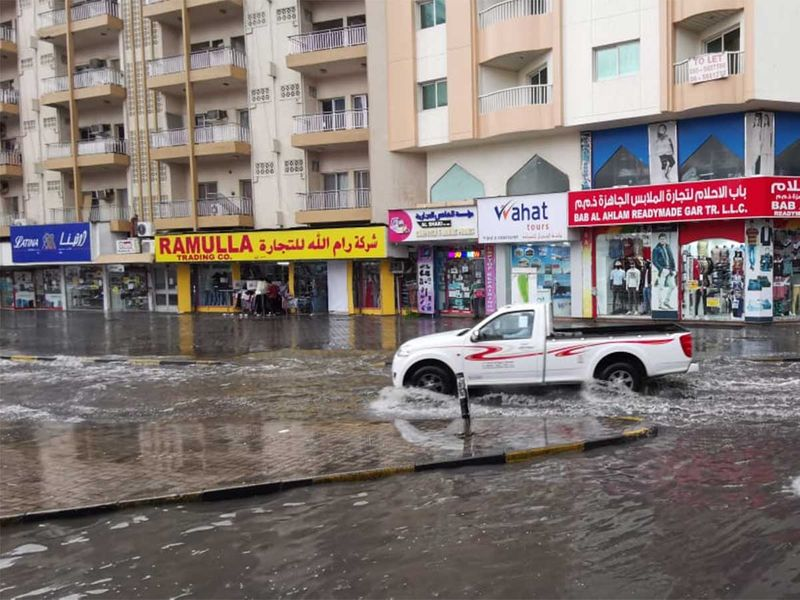 The rains have affected the streets of Sharjah. A water-logged street is shown here. Credits: Ahmed Ramzan/Gulf News