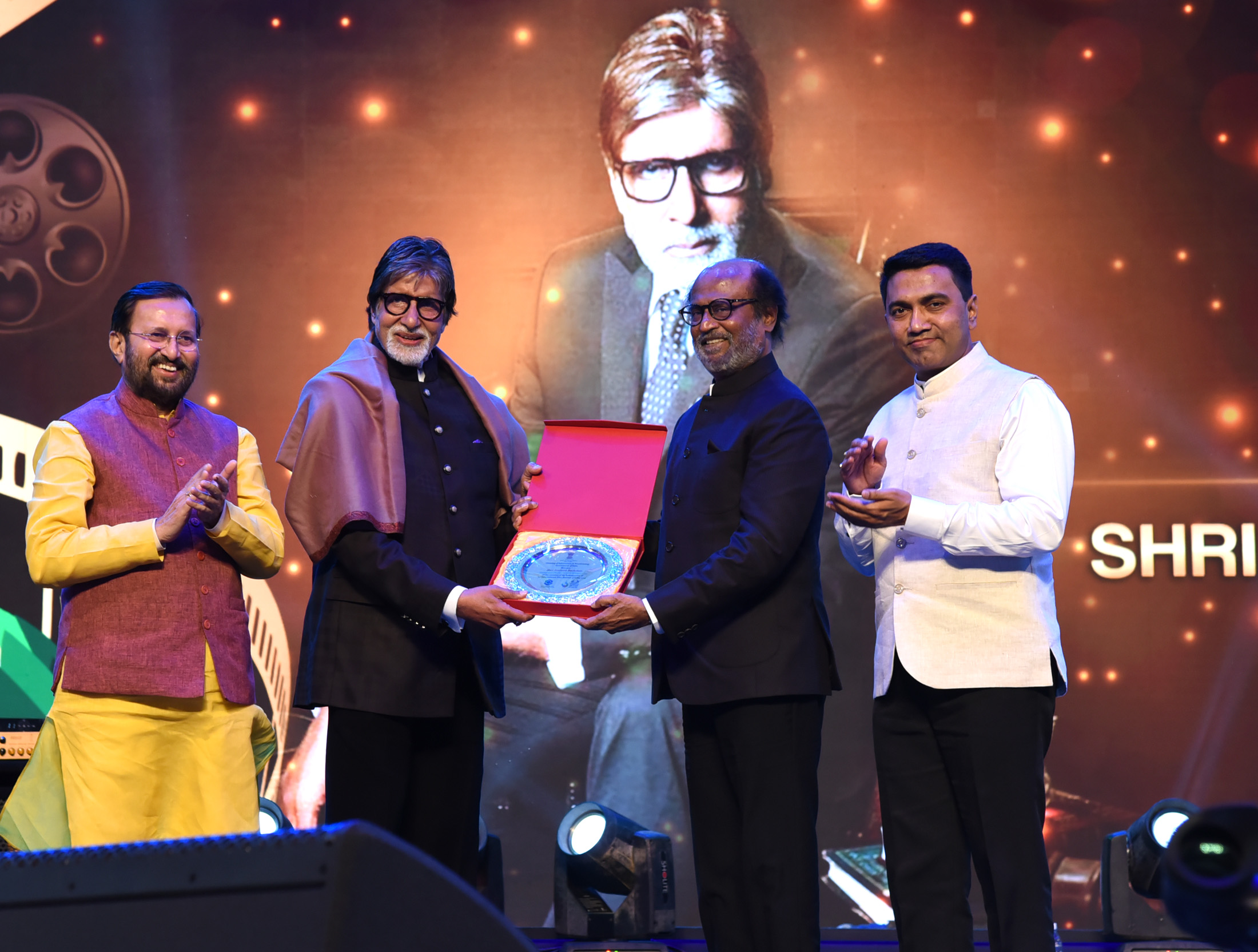 Amitabh Bachchan and Rajinikanth at IFFI 2019
