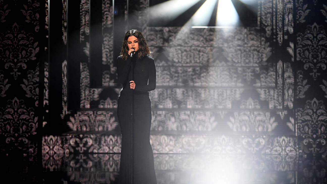 Selena Gomez performing at the AMAs