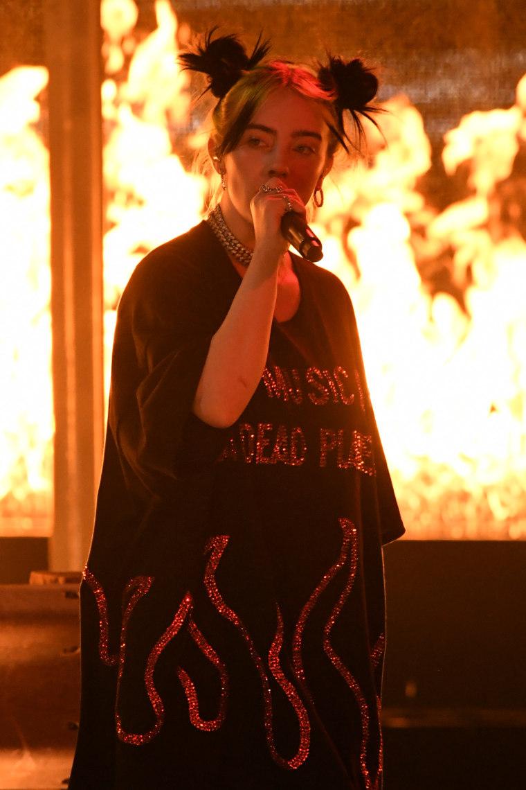 Billie Eilish sets stage on fire - literally