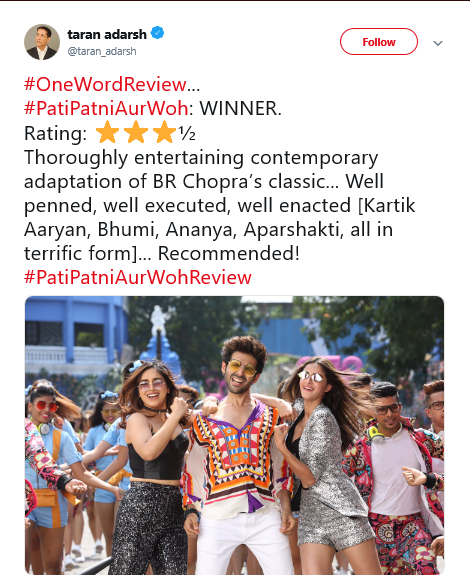 Kartik Aaryan's Pati Patni Aur Woh: Check Out the Comedy Film's Early Reviews Here