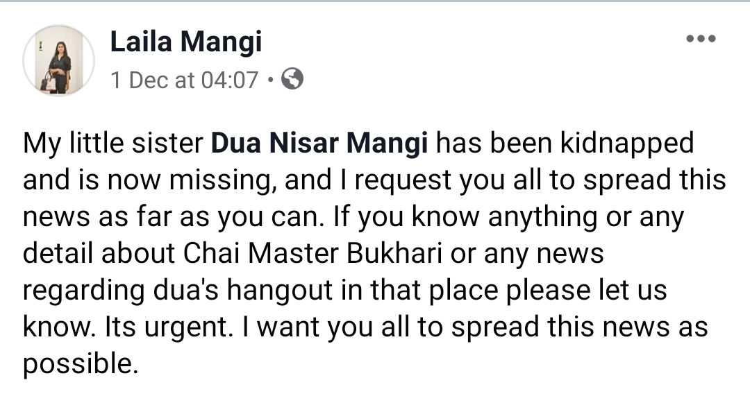 Dua Mangi Case Update: Father Nisar Ahmed Mangi Thanks Supporters for Her Safe Return
