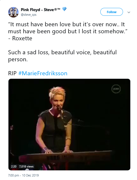 Roxette singer Marie Fredriksson Passes Away at 61, See Tributes Below