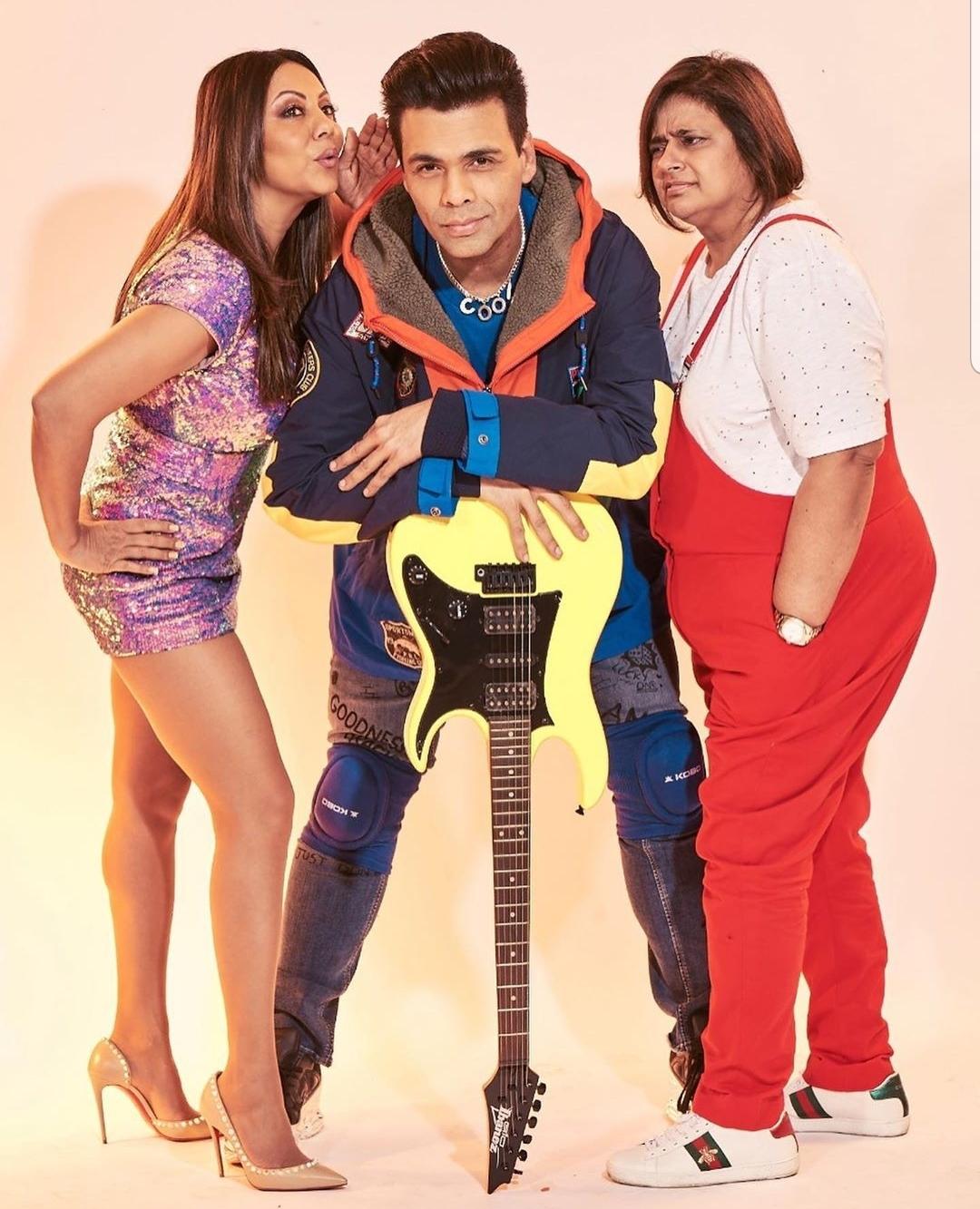 Gauri Khan as Tina, Karan Johar as Rahul and Kaajal Anand