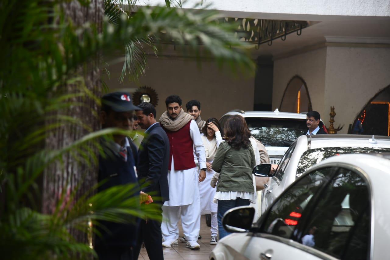 Abhishek Bachchan and Navya Naveli Nanda at Ritu Nanda's funeral