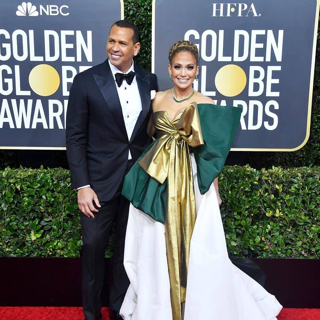 Jennifer Lopez on the 2020 Golden Globes' red carpet. Her fiancé Alex Rodriguez accompanied her