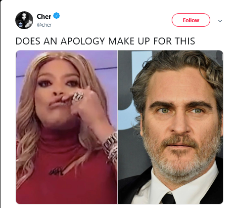 Cher Blasts Wendy Williams on Social Media for Making Fun of Joaquin Phoenix's Cleft Scar