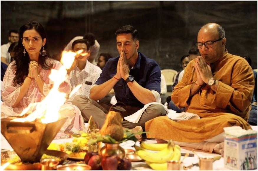 Akshay Kumar and Manushi Chillar do Puja for Prithviraj Muhurat Shoot