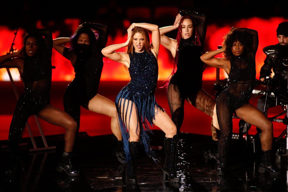 Shakira performing at the Super Bowl