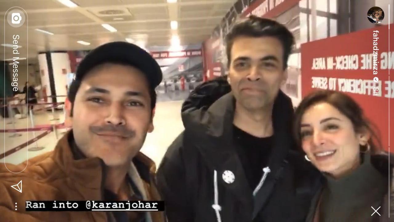 Sarwat Gillani, Fahad Mirza Run Into Karan Johar in Rome