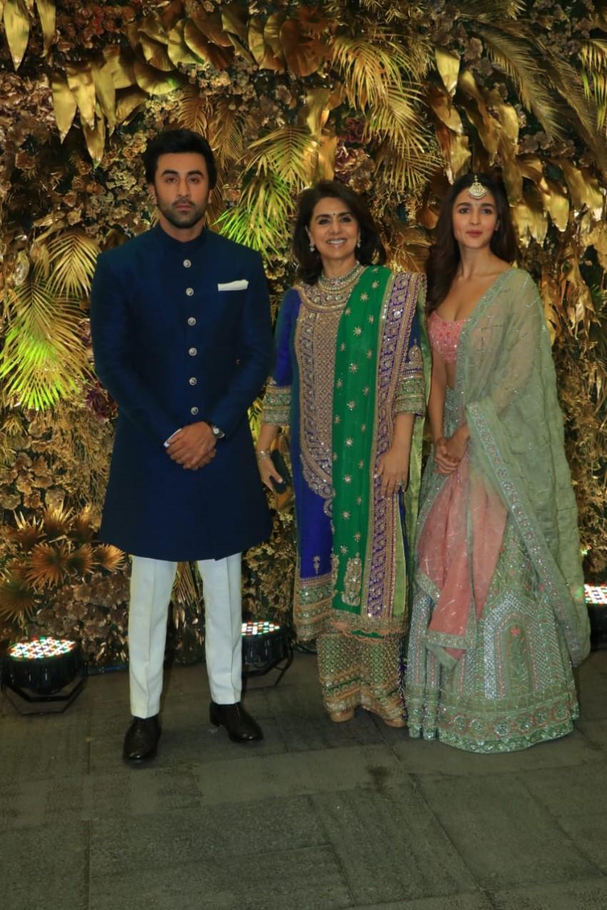 Ranbir Kapoor, Neetu Kapoor and Alia Bhatt arrive at Armaan Jain's wedding reception