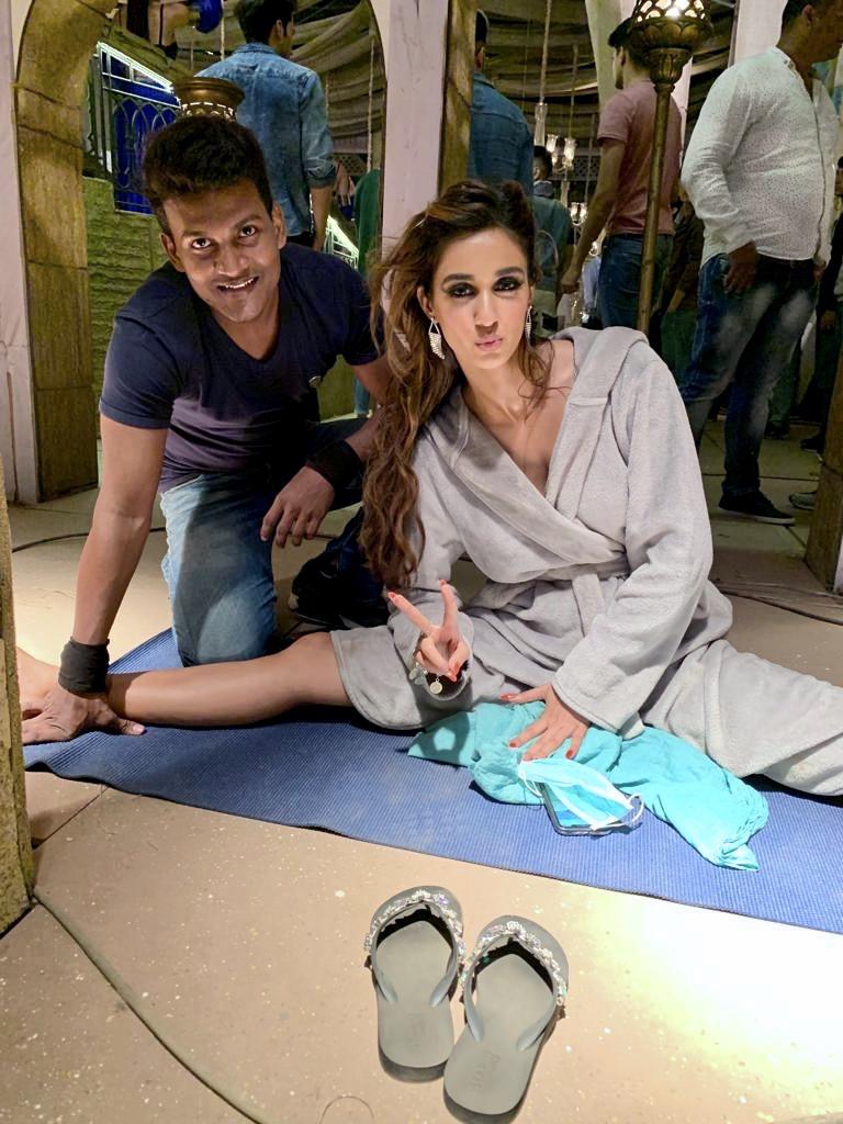 Disha Patani with her fitness trainer Rakesh