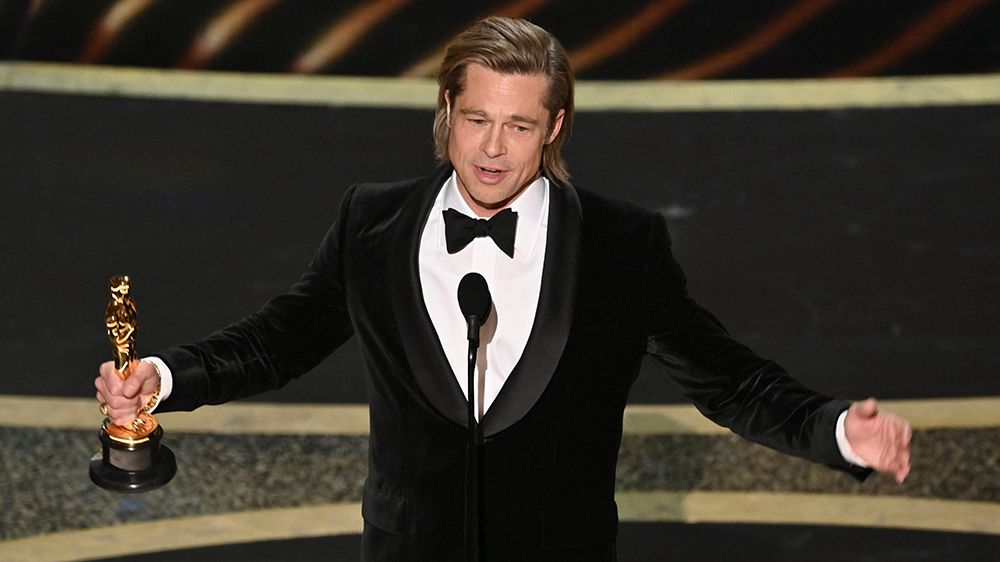 Brad Pitt bags the Best Supporting Actor Award for Once Upon a Time In Hollywood at the Oscars