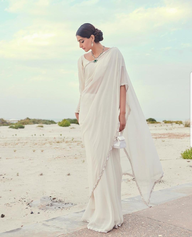 Sonam Kapoor in a pearl sari