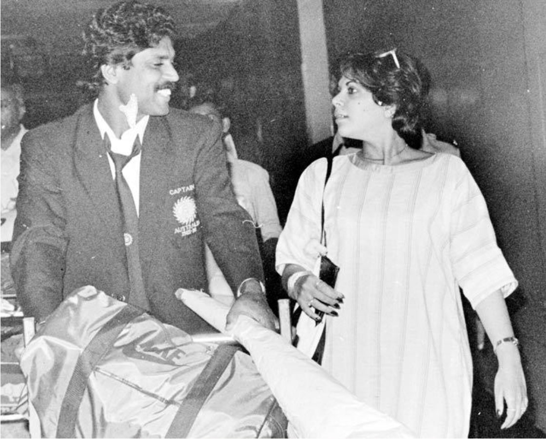 A black and white click of Kapil Dev and Romi Bhatia