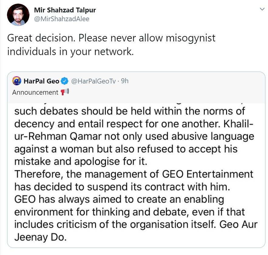GEO Entertainment Suspends Contract With Khalil-ur-Rehman Qamar, Writer Snaps Back