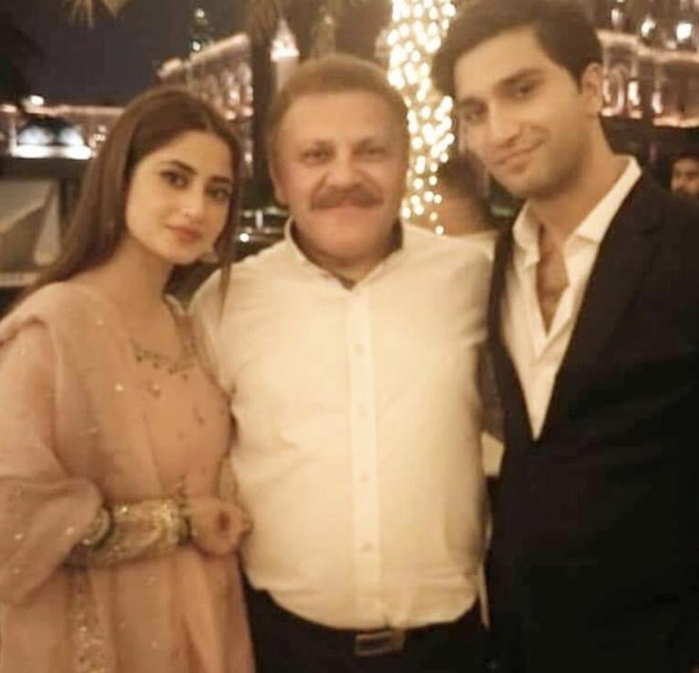 Ahad Raza Mir and Sajal Ali with family