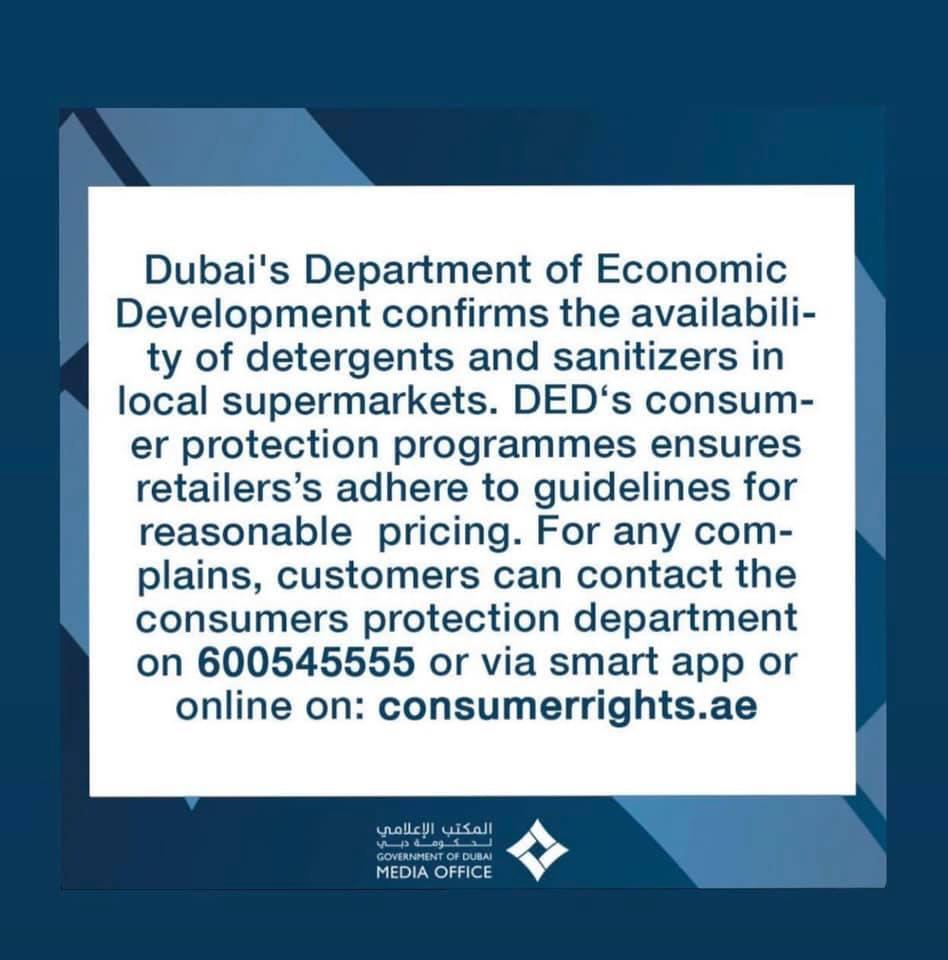 Coronavirus in the UAE: Government Confirms Availability of Detergents and Sanitizers