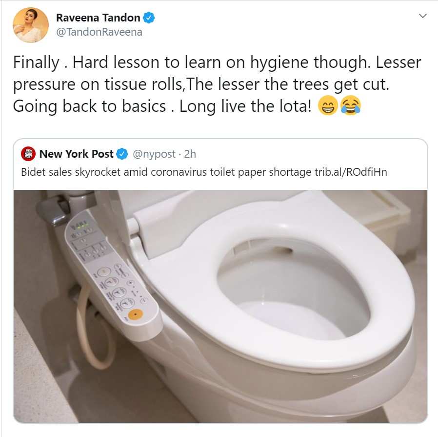 Covid 19 Raveena Tandon Mocks The Rising Prices Of Bidets Due To The Shortage Of Toilet Paper Masala Com