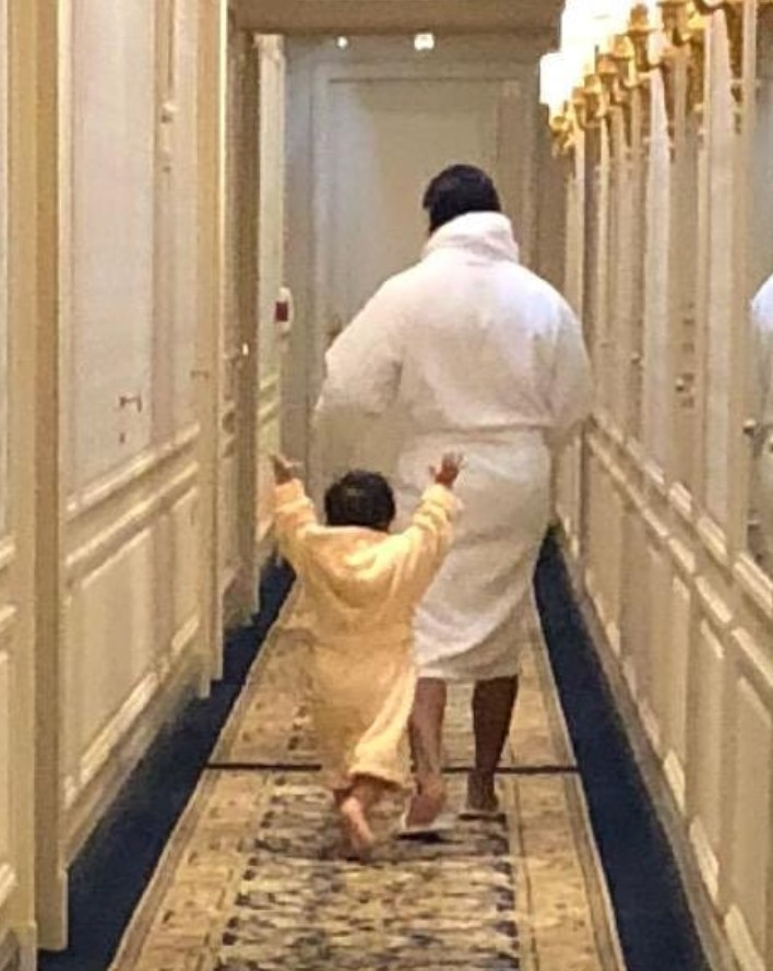 This picture of Saif Ali Khan and Taimur Ali Khan seems for a Europen holiday