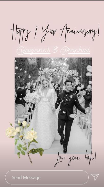 Joe Joe and Sophie Turner on their wedding day shared by Priyanka Chopra