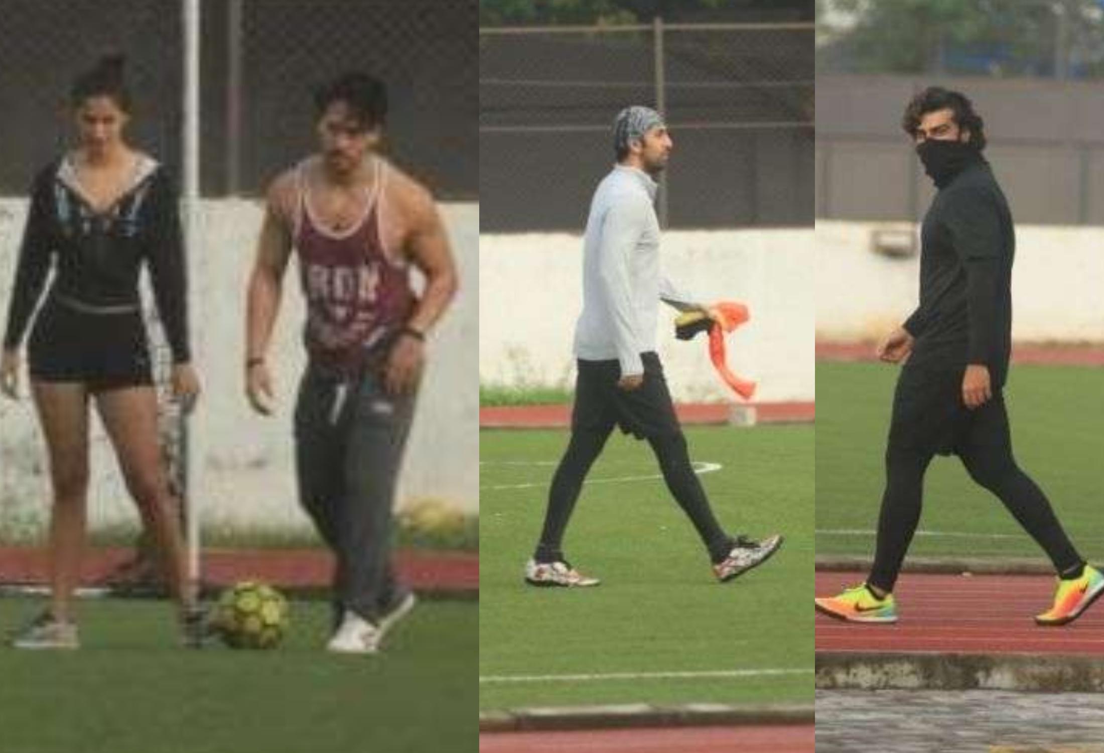 WATCH: Disha Patani joins Tiger Shroff, Ranbir Kapoor, Arjun Kapoor and Ibrahim Ali Khan during football