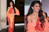 Jacqueline Fernandez Twirls In Orange and Red Kandyan Saree For Sri Lanka Tourism Event